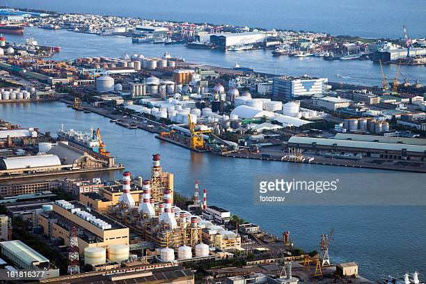 Aerial view on industrial harbor terminal, Taiwan, Republic of China