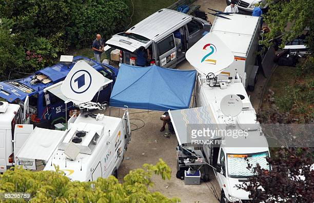 FILES Aerial view on July 29 2007 shows German television stations ARD and Denmark's TV2 Sporten vehicles parked in the TV and media broadcasting...