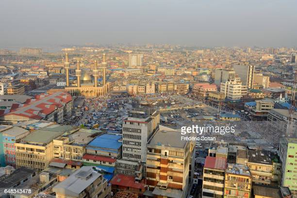 Aerial view on Lagos island and the Lagos central mosque on March 17 2016 in Lagos Nigeria