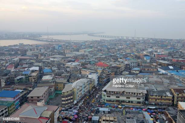 Aerial view on Lagos island and the Lagos harbour on March 17 2016 in Lagos Nigeria