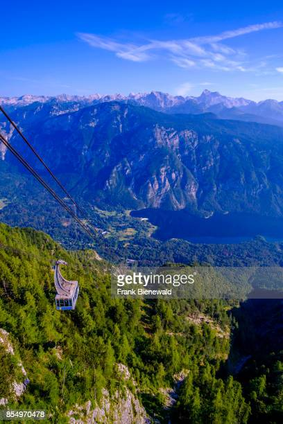 Aerial view on Lake Bohinj Bohinjsko jezero and Mount Triglav from Vogel cable car hill station in Triglav National Park