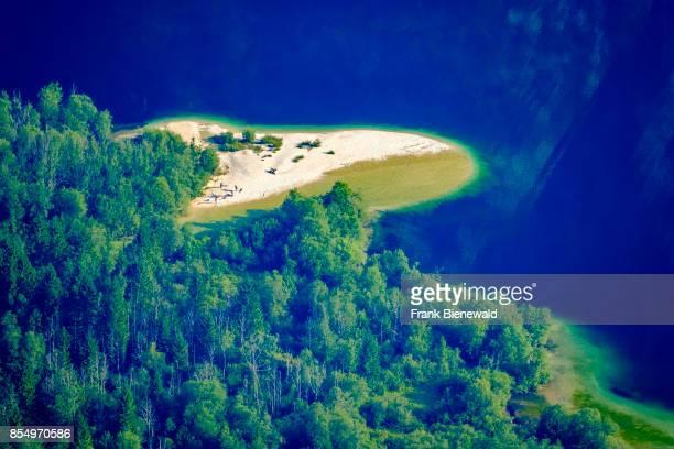 Aerial view on Lake Bohinj Bohinjsko jezero from Vogel cable car hill station in Triglav National Park