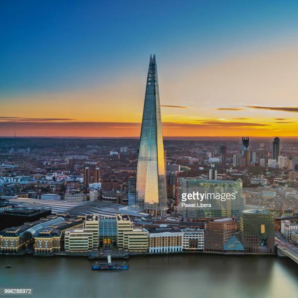 Aerial view on London skyline with the Shard at sunset.