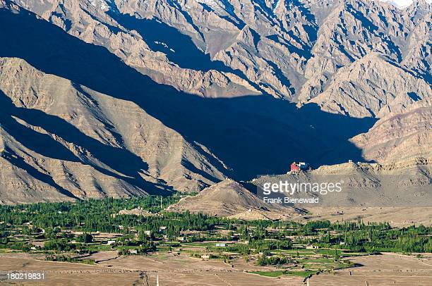 LADAKH MATHO JAMMU KASHMIR INDIA Aerial view on Matho Gompa and the surrounding village situated above the green Indus valley big mountains in the...
