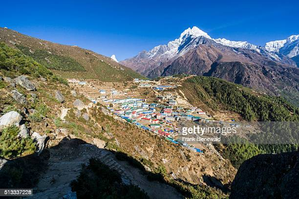 Aerial view on Namche Bazaar with the mountain Kangtega in the distance