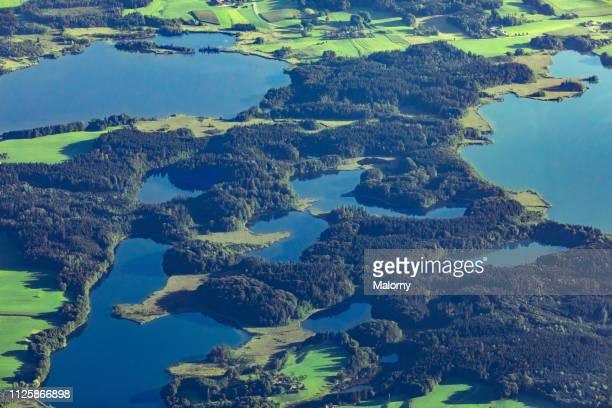 aerial view on nature resverve landscape with lakes and forrests - reserva natural parque nacional fotografías e imágenes de stock