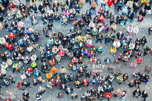 aerial view on old town square in prague - looking up stock pictures, royalty-free photos & images