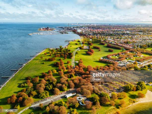 aerial view on park near the city and the sea - waterfront stock pictures, royalty-free photos & images