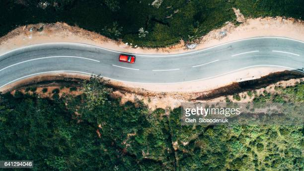 Aerial view on red car on the road near tea plantation