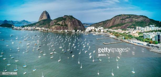 aerial view on sugar loaf mountain in bay of rio de janeiro - copacabana beach stock pictures, royalty-free photos & images