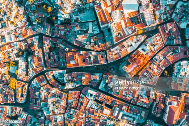 aerial view on the colorful old town of guanajuato, mexico - drone point of view stock pictures, royalty-free photos & images