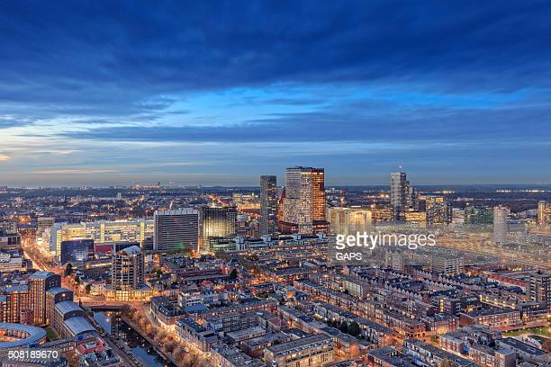 aerial view on the hague's city centre at dusk - the hague stock photos and pictures