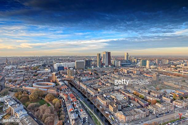 aerial view on the hague's city centre - hague stock photos and pictures
