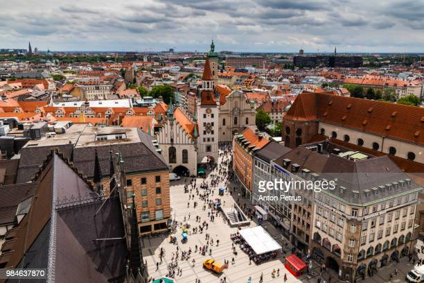 aerial view on the  marienplatz in munich, germany - new town hall munich stock pictures, royalty-free photos & images