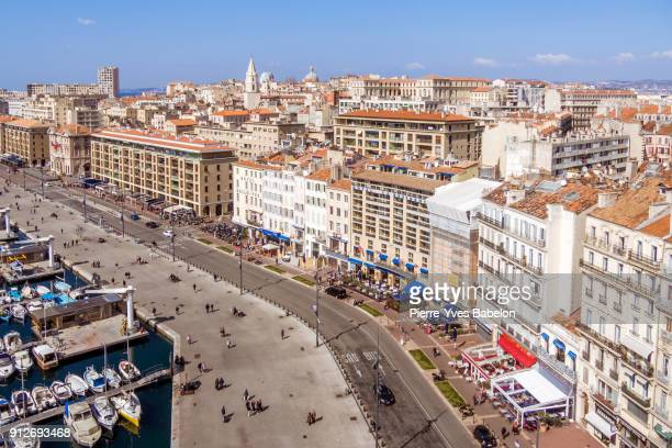 aerial view on the old port of marseille - marseille photos et images de collection