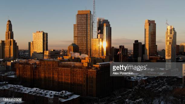 aerial view on the one hanson place in downtown brooklyn, new york city, in the winter morning. - brooklyn new york stock pictures, royalty-free photos & images