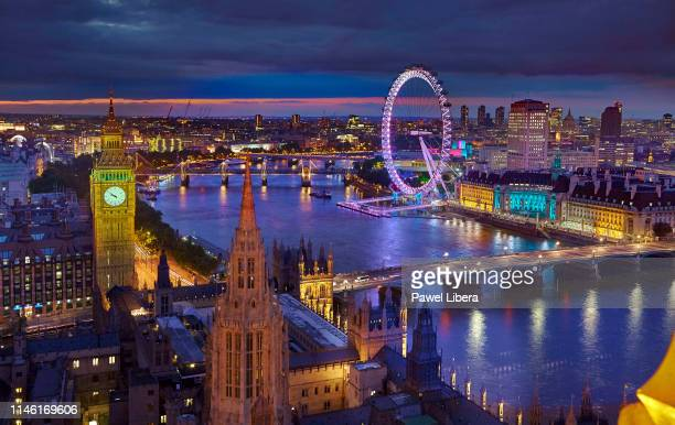 Aerial view on the skyline of London with Palace of Westminster aka Houses of Parliament and London Eye observation wheel at twilight