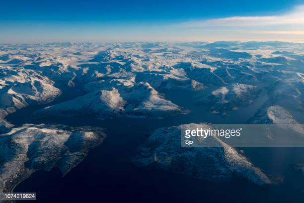Aerial view on the snow covered winter landscape in Northern Norway