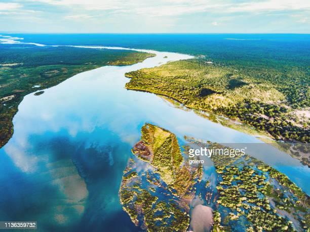 aerial view on the zambezi under blue sky