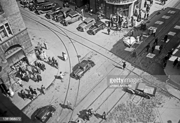 Aerial view on traffic in downtown Leipzig, Saxony, Germany, 1948.
