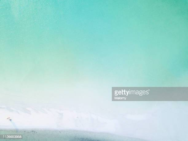 aerial view on turquoise ocean and beach umbrella for some sunshade on the beach on a hot summer day - isla holbox fotografías e imágenes de stock