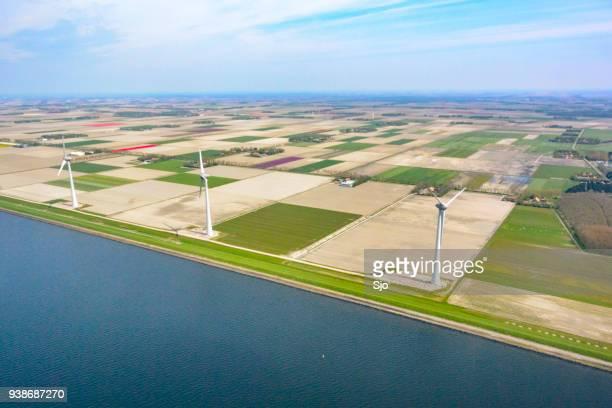 luchtfoto op windturbines voor velden van de tulp bloemen groeien in het voorjaar in nederland - flevoland stockfoto's en -beelden