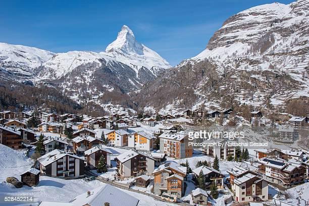 Aerial View on Zermatt Valley and Matterhorn Peak