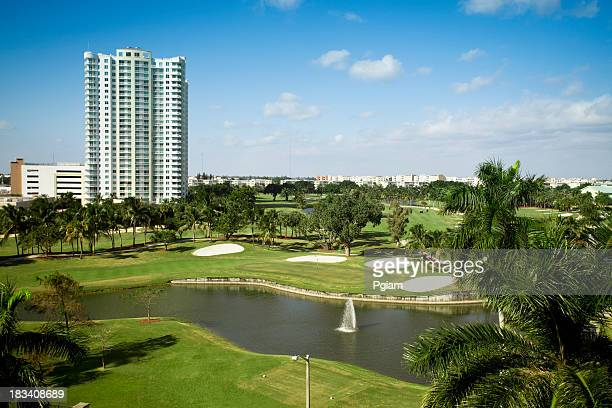 Aerial view over a Florida golf course