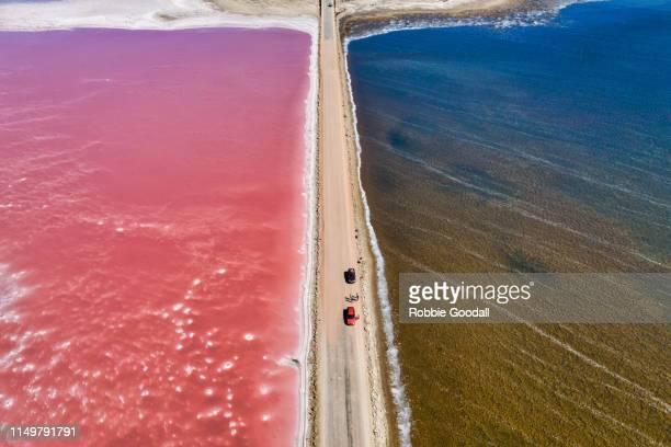 aerial view over a pink salt lake in south australia - südaustralien stock-fotos und bilder