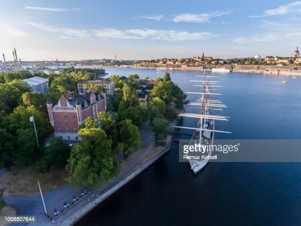 Flygfoto över Af Chapman Stockholm