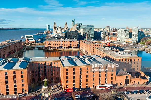 Aerial view over Albert Docks, Liverpool, England