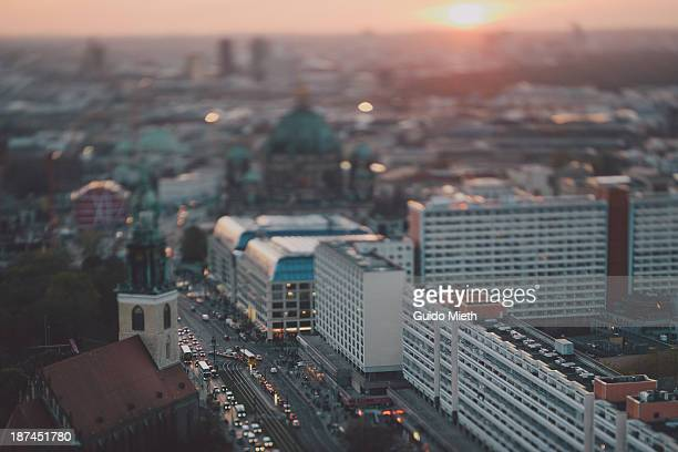 Aerial view over Berlin city.