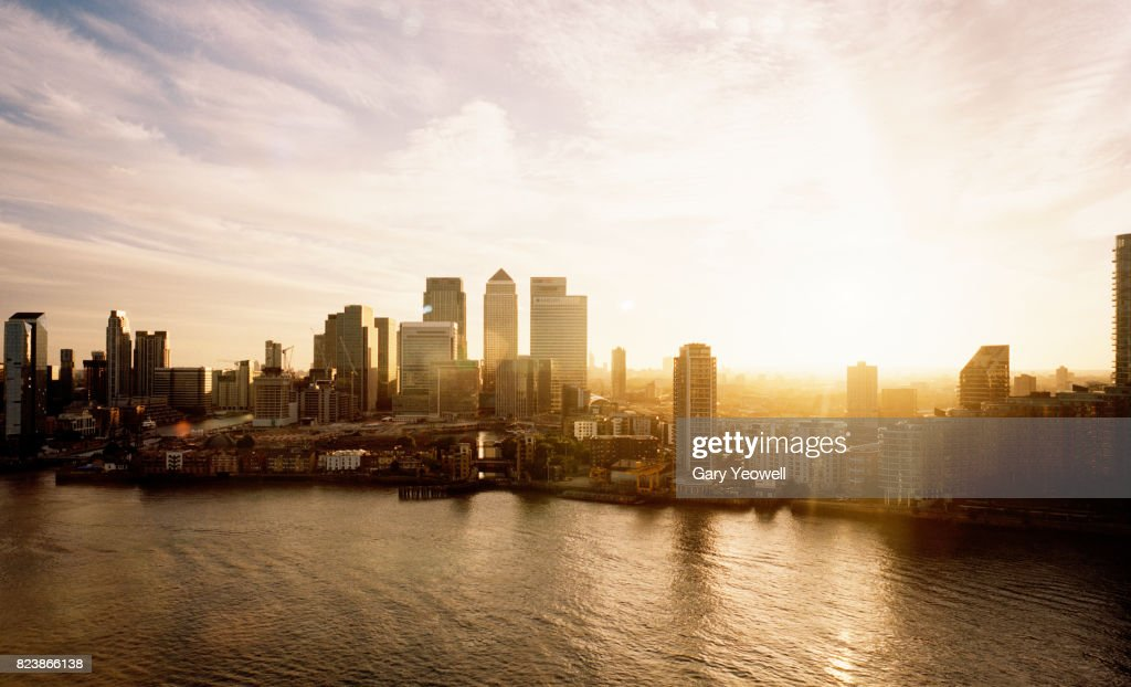 Aerial view over Canary Wharf skyline in London : Stock Photo