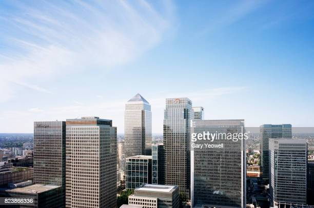 aerial view over canary wharf skyline in london - wolkenkratzer stock-fotos und bilder