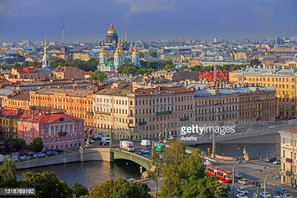 Aerial view over cathedrals and the Egyptian Bridge / Egipetsky most bridge over the Fontanka River in the city Saint Petersburg, Russia.