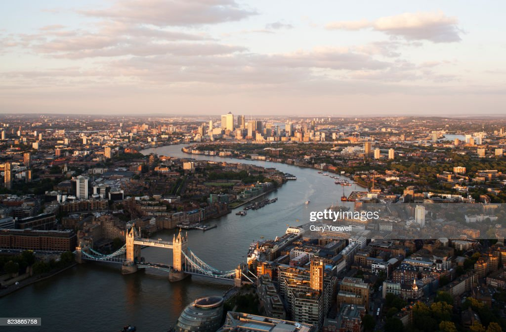 Aerial view over City of London and River Thames : Stock Photo