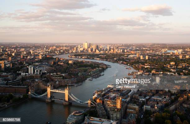 aerial view over city of london and river thames - london england bildbanksfoton och bilder