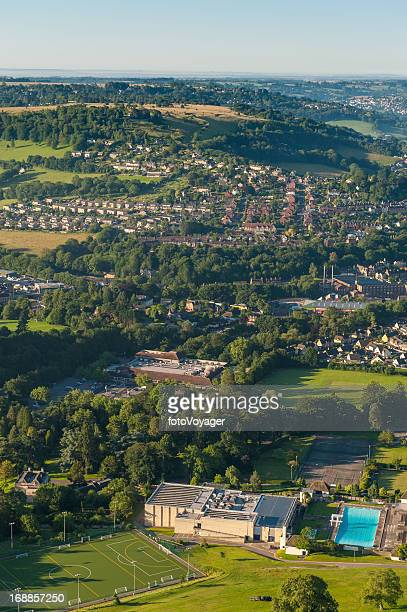 aerial view over country town suburbs green fields - overhemd en stropdas stock pictures, royalty-free photos & images