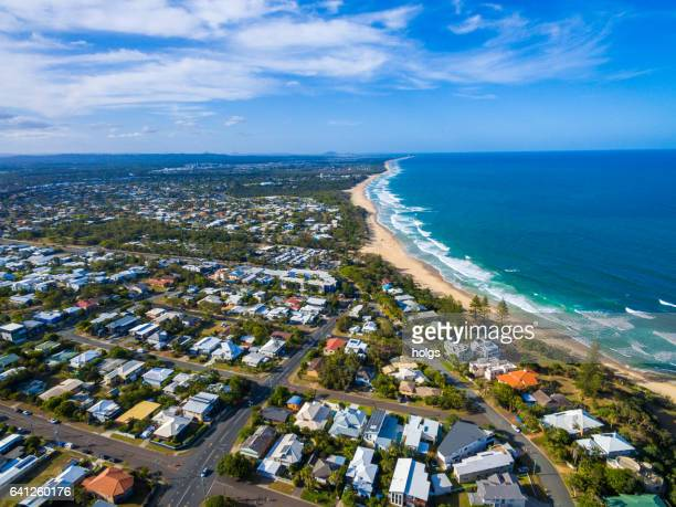 aerial view over dicky beach caloundra, sunshine coast, australia - queensland stock pictures, royalty-free photos & images