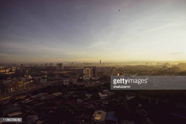 aerial view over down town kuala lumpur, malaysia. - shaifulzamri stock pictures, royalty-free photos & images