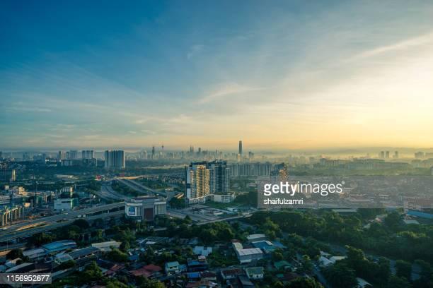 aerial view over down town kuala lumpur, malaysia. - shaifulzamri imagens e fotografias de stock