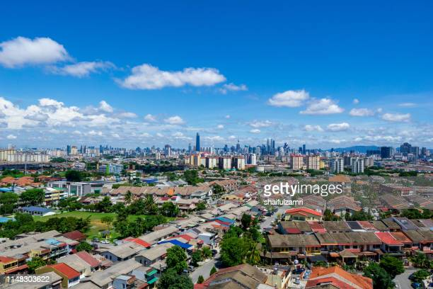 aerial view over downtown kuala lumpur, malaysia - shaifulzamri stock pictures, royalty-free photos & images