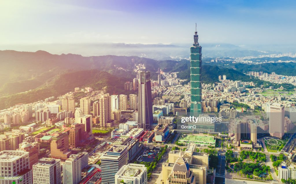 Aerial view over Downtown Taipei at dawn : Stock Photo