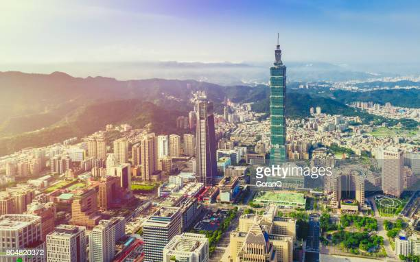 aerial view over downtown taipei at dawn - taipei stock pictures, royalty-free photos & images