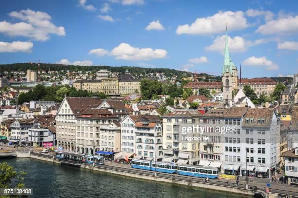 Aerial view over downtown Zurich with Limmat River, Switzerland
