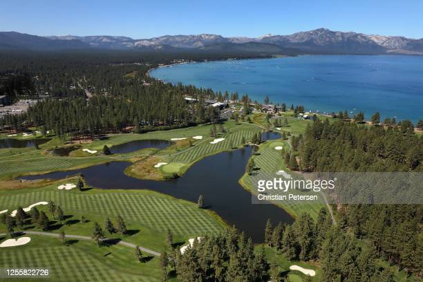 Aerial view over Edgewood Tahoe South course during the final round of the American Century Championship on July 12, 2020 in South Lake Tahoe, Nevada.