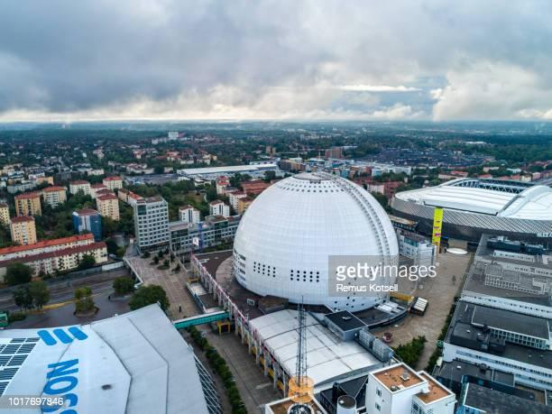 Flygfoto över Globen i Stockholm