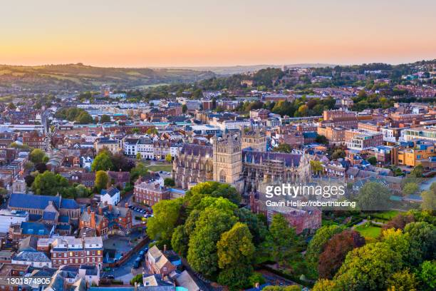 aerial view over exeter city centre and exeter cathedral, exeter, devon, england, united kingdom, europe - gavin hellier stock pictures, royalty-free photos & images