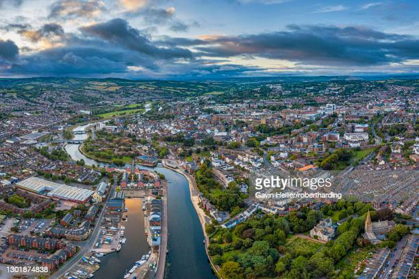 aerial view over exeter city centre and the river exe, exeter, devon, england, united kingdom, europe - gavin hellier stock pictures, royalty-free photos & images