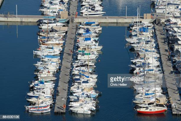 Aerial View over Fishing Boats in the Port or Harbor Cannes
